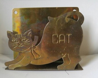 Brass fat cat mail holder bill organizer wall mount