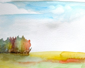 """Watercolor Painting, Original Landscape, Meadow with Big Clouds, 9""""x12"""""""