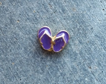 Floating Charm For Glass Memory Lockets- Gold Backed Purple Flip Flops