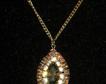 Prong Set Layered Pave Marquis and AB Rhinestone Pendant Necklace 16 inch