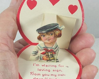 SAILOR BOY VALENTINE, Fold over Heart with Fold out Image, World War One Era, Early Hallmark Brand, Antique, Vintage Greeting Card