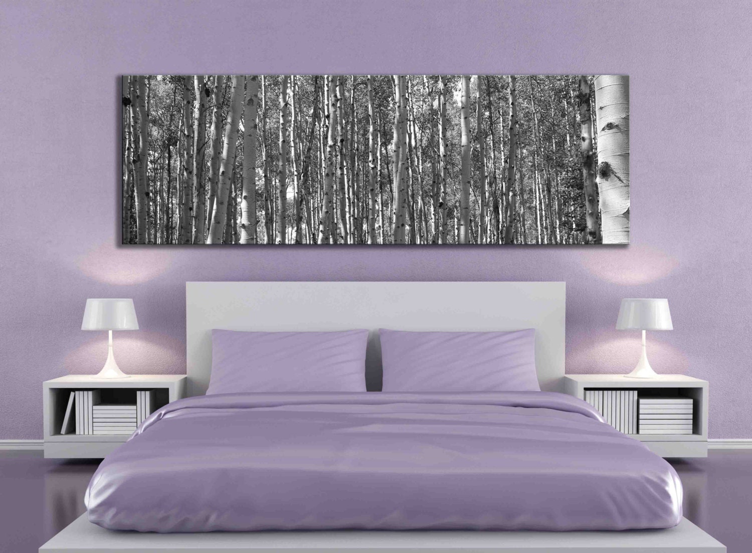 Big canvas print 20 x 60 or 12 x 36 inch black and white