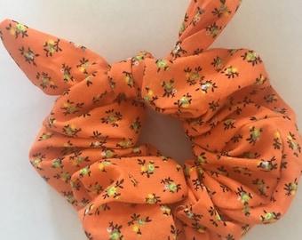 hair accessory, hair scrunchies, orange hair elastic, orange hair scrunchies