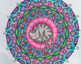 Cat Nap Adult Coloring Page