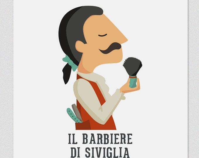 """Ilustración """" El barbero de Sevilla"""". Según la ópera de Rossini."""