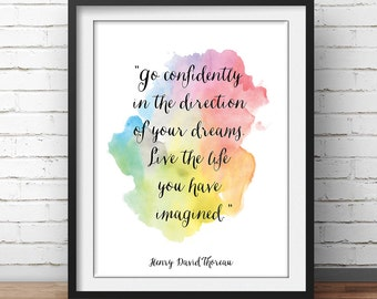 """Thoreau Quote Poster """"Go confidently in the direction of you dreams"""" Motivational Poster Inspiring Quote Inspirational Poster Henry David"""