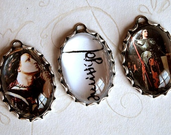 3 PCS Saint Joan of Arc Handmade Phot Charm Set in 25X18mm bezels-Catholic Saint-Martyr-Christian religious Charms-Joan of Arc Charm