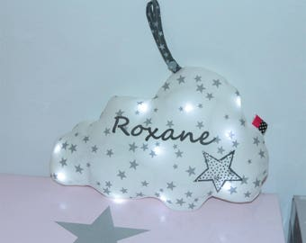 LED night light cloud white and grey, personalized with name
