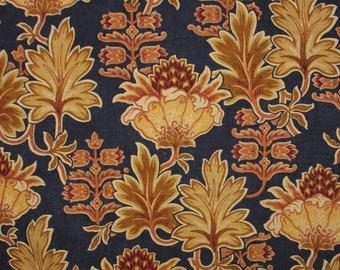 French fabric art deco blue gold and purple linen and cotton antique floral cloth vintage textile 1900