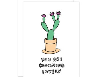 You Are Blooming Lovely Plant Card by Veronica Dearly - Romantic Card - Plant Pals - Plant Lovers Card - Anniversary Card - Valentines Card