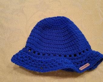 Bright cobalt blue floppy crochet hat