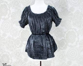 Steampunk Renaissance Cora Chemise in Pewter Crinkled Shimmer Satin -- Custom Made in Your Size
