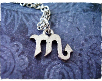 Silver Scorpio Zodiac Sign Necklace - Antique Pewter Scorpio Zodiac Sign Charm on a Delicate Silver Plated Cable Chain or Charm Only