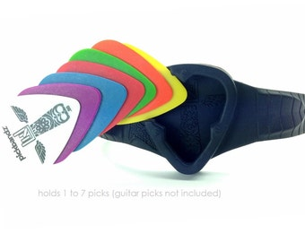 Pickbandz PRO guitar pick holder. HOLDS up to 7 PICKS    Available in 2 Sizes - Music is your life. Make it rock.