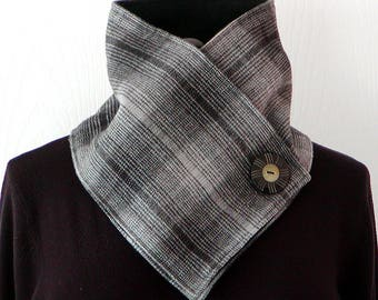 Unisex GRAY & BLACK Plaid Wool/Fleece NECKWARMER Scarf Men Women Warm Soft Large Button Accent Cowl Winter Accessory Cozy Warmth
