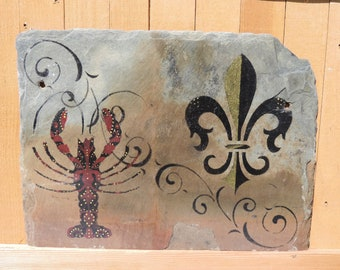Crawfish and Fleur De Lis Wall Art on New Orleans Recycled Roofing Slate