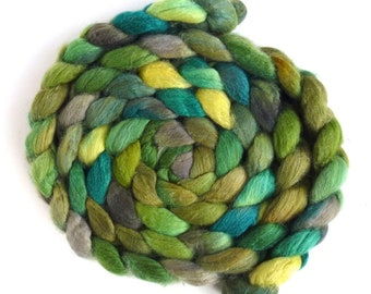 Merino/ Silk Roving (Top) - Handpainted Spinning or Felting Fiber, Moss Lake
