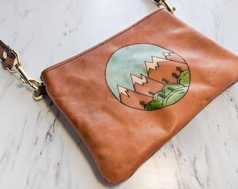 Leather Crossbody Bag / Belt bag / Clutch / 3 in 1 bag / Mountain bag / Mountain Clutch