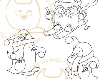 Digi Stamp Instant Download. Build a Snow Scene Trio (Kittiski, Snowball Percy and Snowball Pablo)- Knitty Kitty Digis No.52 AB&C