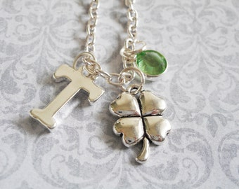 Shamrock Necklace St Patricks Day jewelry silver plated initial charm necklace Swarovski crystal birthstone gift for her lucky good luck