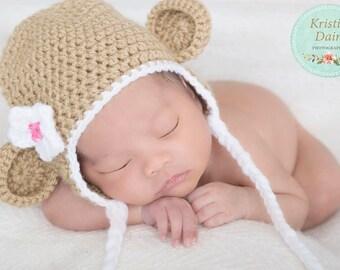 Monkey Hat, Crochet Monkey Hat, Newborn Monkey Hat, Monkey Photoprop, Newborn Monkey Photoprop, Girly Monkey Hat, Monkey Beanie