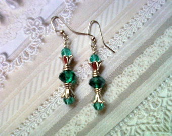 Aqua and Silver Earrings (1850)