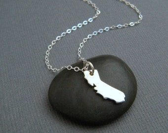 California state necklace. CA. small sterling silver state jewelry. tiny simple everyday jewelry. dainty. travel. I love CA