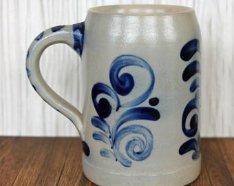 Vintage Stoneware Mug Beer Stein Tankard Grey with Blue Leafy Design 0.25L German or Austrian Bavarian Blue