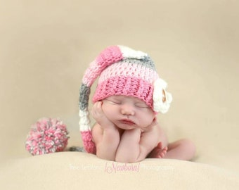 Newborn Props - Baby Girl's Stocking Hat - Long Pixie Hat - Pink Stocking Hat - Pink Baby Girl Hat - Pink Gray White Striped Hat