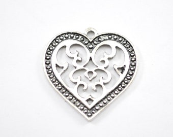 10pcs - 27mm x 27mm Antique Silver Heart Pendant - Necklace Pendant - Bulk Charms  - Valentine's Day - Sweetest Day - Wife Gift B37