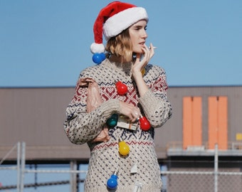 Vintage christmas sweater || vintage christmas knitted sweater || christmas jumper || reindeer jumper || reindeer sweater || santa sweater