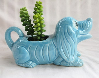 Vintage Blue Dog Planter Pot Watering Pot Vintage Import Japan Home and Living Indoor Garden Planter Pot Blue Dog Vintage Plant Gift Decor