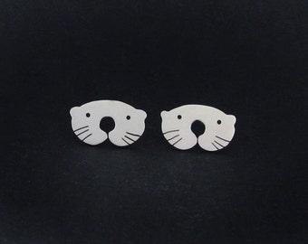 Otter Earrings - Cute Animal Earrings - Otter Jewelry - Cute Stud Earrings - Sterling Silver Animal Gifts for Teen Girls