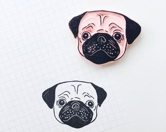 Pug stamp. pug dog stamp. pug dog. pug portrait. pet portrait. dog portrait. rubber stamp. handmade. hand carved stamp. mounted