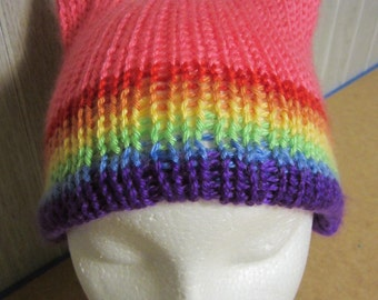 Hot Pink RAINBOW Band Pride PussyHat Cat Beanie Women's March PUSSY HAT Knit Kitty Ears 3 Sizes, -- Charity Donation & Free Shipping UsA