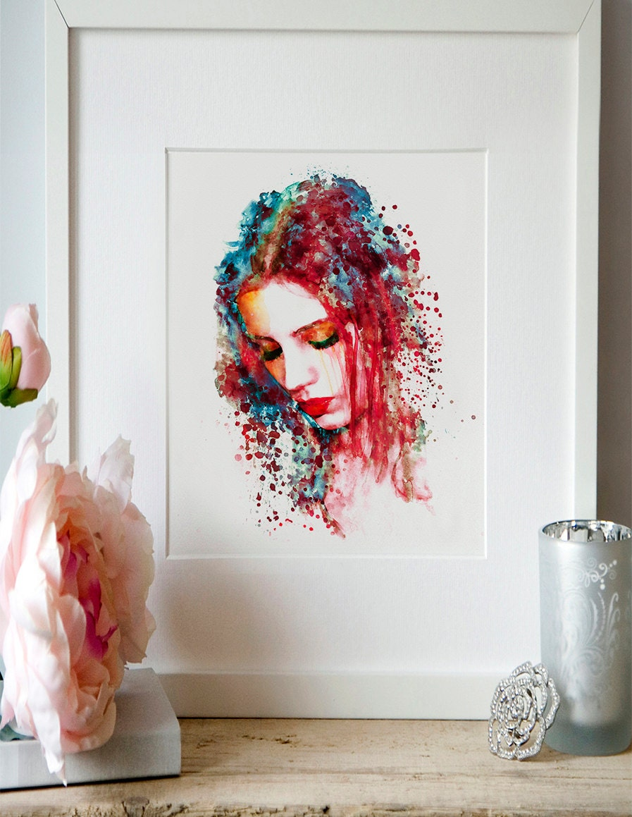 Sad Woman Watercolor painting Wall art Girl Illustration