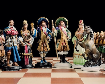 Handmade Pewter Chess Set French - Hand painted chess