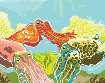Cuttlefish Original Pop Illustration