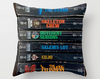 Stephen King Pillow, Books Pillow Case, Stephen King Lover, Books Art, Library Decor, Reading