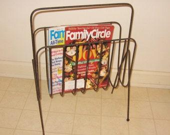 Metal Rustic Magazine Rack Industrial Mid Century Modern