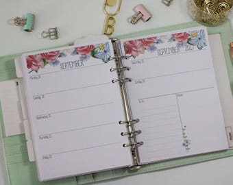 Printed A5 Planner Inserts - Horizontal Layout - Week on 2 pages - Large Kikki-K or Filofax - Spring Flowers - Butterfly