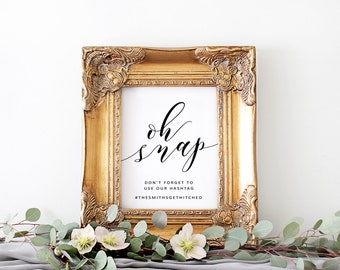 Wedding Hashtag Sign | Oh Snap Sign | Digital Download for Word | Hashtag Sign Download | Wedding Reception Sign | Share the Love