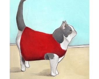 Art Print - Wall Art - Fine Art Print - Home Decor Art Print - Cat Print - Cat Art - Print of Cat Painting - 8x10 Print - Larkin Cat