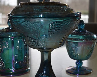 Vintage Iridescent Blue Carnival Large Compote with Cover