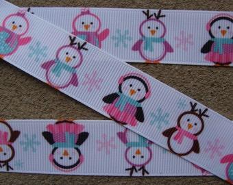 "Penguin ribbon 3 yards 7/8"" Christmas penguin Ribbon  Grosgrain Ribbon Hair Bow Ribbon Christmas Ribbon Winter ribbon Holiday Ribbon"