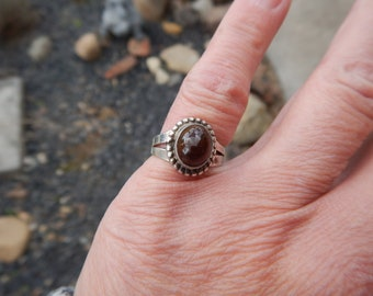Sterling silver and Mexican fire agate Navajo ring