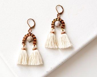 Tassel Earrings, White Earrings, Wedding Earrings, Fan Earrings, Fringe Earrings, Arc Earrings, Statement Earrings, Gift For Her, Clip On
