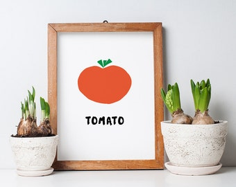 Printable Kitchen Art - Tomato Print - Tomato Poster - 8.5 x 11 PDF Print - Instant Download - Tomato Cut-Out - Modern Tomato PDF Download