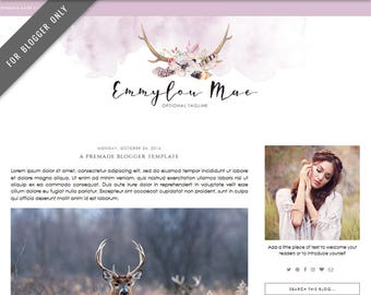 Blogger Template - Mobile Responsive & Dropdown Menu - Watercolor Design Blog - INSTANT DOWNLOAD - Emmylou Mae Theme