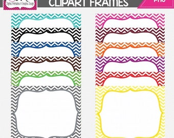 INSTANT DOWNLOAD: Chevron Digital Frames - Digital Tag - Clipart - Commercial Use